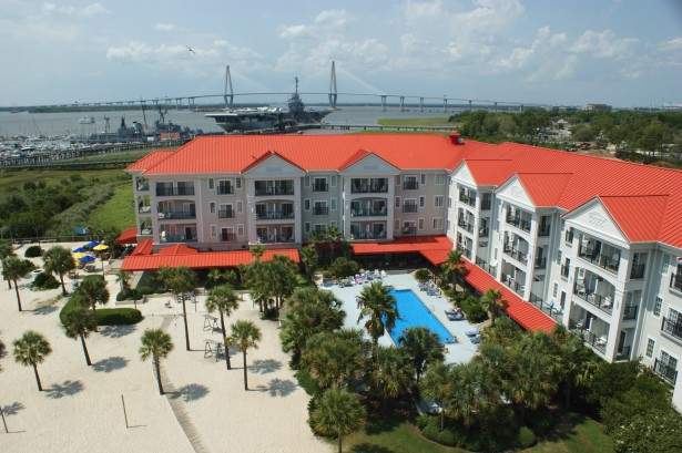 Charleston Harbor Resort & Marina Aerial Shot with Yorktown