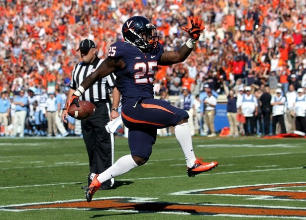 Virginia running back Kevin Parks will play in the Medal of Honor Bowl on Saturday at Johnson Hagood Stadium. FILE/RYAN M. KELLY/AP